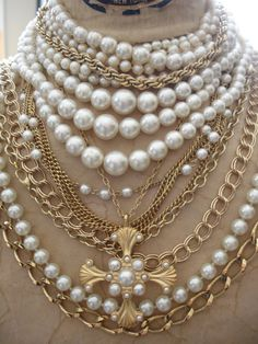 Large Gold and Pearl Necklace Layered Religious by jeweledfaith, $45.00 - So wish I could pull off this look,...I'm just way too short!! LOL!! ;-)