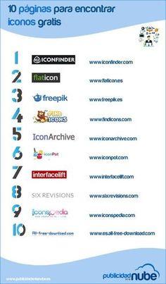 Una infografía que a modo de listado nos indica hasta diez sitios desde donde podemos descargar iconos gratuitos para usar en nuestros proyectos.