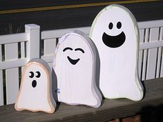 Wood Ghost family...    Or, Even Easier... Styrofoam from your local furniture store dumpster. I have used before to make tombstones and pumpkins. Easy to cut, light to store.