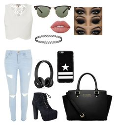 """""""Untitled #72"""" by madriz-soamdi on Polyvore featuring Lipsy, River Island, Speed Limit 98, MICHAEL Michael Kors, Beats by Dr. Dre, Givenchy, Ray-Ban and Lime Crime"""