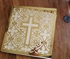 Modern gold laser cut Christening Invitation cards