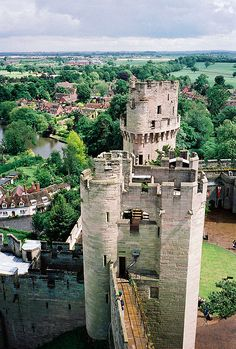 Atop one turret looking across to another, Warwick Castle in England