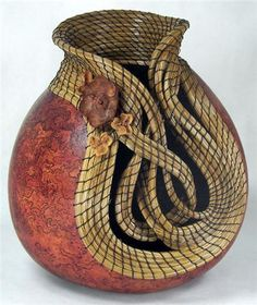 Judy Richie (Red Cloud Originals) -Tied up in Knots. Member Texas Gourd Society