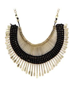 Bold Spikes Black and Gold Necklace goldPPSEPNECK19