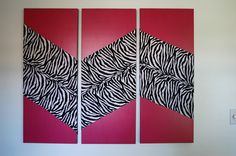 DIY zebra and hot pink wall hanging for girls bedroom.  Purchased canvas that was already primed, painted with same latex paint I used in her bedroom.  Added fabric stripes to create zig zag pattern.