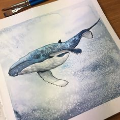 Saturday mood - whale 🐋. Day 181 in #365daysofhappiness #365 #365project #drawing #drawingeveryday #watercolor #watercolorpainting #waterproof  #lamyfountainpen #whale #whaleinocean #illustration