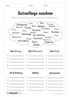 On this free worksheet, students should assign different sentence beginnings to the categories time, place, emotions and excitement. Writing Practice Worksheets, 1st Grade Worksheets, German Grammar, German Words, Sentence Beginnings, Different Sentences, German Language Learning, Learn German, Good Notes