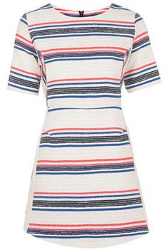 Striped Jacquard A-Line Dress