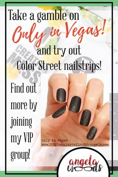 Only in Vegas is a sparkly black shade covered with subtle gold and holographic fleck of glitter. Calling to mind the shimmer and shine of a Vegas night lit with bright lights and neon signs.     #BlackNails #blacknailswithglitter #blacknailsclassy #nails