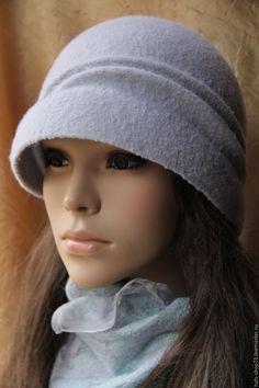 Купить Валяная шляпка Серебристый туман - серый, однотонный, валяная шляпка, шляпа женская