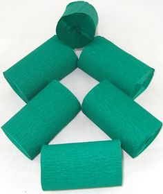 6 Dark Green Crepe Streamers EXTRA WIDE 82mm x 10 meters 40% stretch