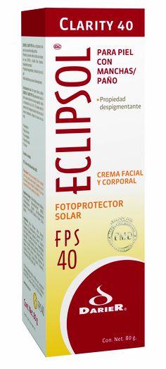 Eclipsol Clarity FPS 40 - Fotoprotector solar con Emblica, ingrediente que ayuda a disminuir las manchas ocasionadas por los rayos UV    •Ideal para prevenir del daño causado por la exposición solar como pecas, manchas, etc. en rostro, manos, cuello y brazos principalmente  •FPS 40 (Factor de Protección Solar)