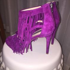 Fuschia fringe heels Purple sexy fringe heels. Worn once in excellent condition. Perfect for date night or a night out with the girls! Steve Madden Shoes Heels
