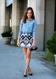 Denim shirt and graphic skirt makes a great smart casual outfit.
