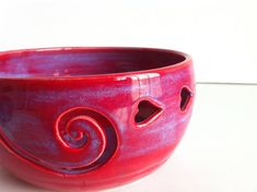 Purple Red LOVE Ceramic Wheel Thrown Spiral Yarn Bowl  - Made To Order