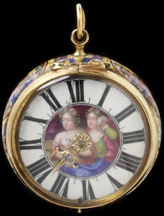 Watch and case Place of origin: Geneva, Switzerland (made) Date: probably 1682-86 (made) Artist/Maker: Huaud, Ami, born 1657 - died 1724 (enameller) Huaud, Jean Pierre, born 1655 - died 1723 (enameller) Materials and Techniques: Enamelled copper gilt