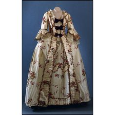 This gown is in the Colonial Williamsburg collection and was owned by Elizabeth Dandridge (Martha Washington's sister) and descended in Elizabeth's family.  It was bequeathed to be cut up and used as upholstery fabric, but fortunately remained intact.