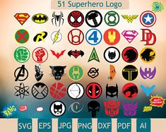 51 New More Superhero Logo, Few Layers, Superhero Svg, Superhero Clipart, Superhero Printable, Batman Svg, Superman Svg, Wonder woman Svg