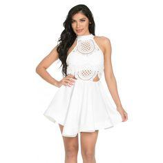 Choker Halter Crochet Knit Skater Dress in White (725 MXN) ❤ liked on Polyvore featuring dresses, white crochet dress, white circle skirt, white halter dress, halter dress and skater skirt dress