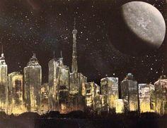 Original Painting. Spray Paint Art. City Lights. by JoshLeBlanc, $25.00