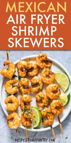 game day food Cilantro Lime Air Fryer Shrimp Skewers are perfect game day fare that is also perfectly healthy. Cooked with no oil (yaye!) these shrimp skewers. Plus they are a zero Freest Easy Potluck Recipes, Air Fryer Dinner Recipes, Air Fryer Recipes, Lunch Recipes, Seafood Recipes, Mexican Food Recipes, Healthy Recipes, Ninja Recipes, Bariatric Recipes