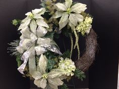 Green Christmas sparkly wreath custom floral by Andrea for Michaels Round Rock