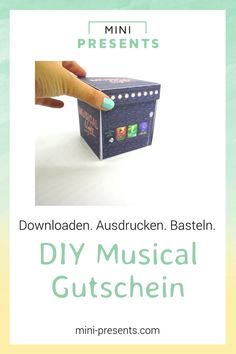 Musical voucher explosion box as a gift to tinker yourself - DIY DIY voucher for musical tickets – Are you looking for gifts for men, for your best friend, fo - Presents For Boyfriend, Presents For Kids, Diy Presents, Boyfriend Gifts, Diy Gifts, Crafts For Teens To Make, Gifts For Teens, Diy For Teens, Kids Crafts