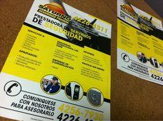 Parte de los últimos trabajos: Diseño e Impresión de folletos A5 para Saturno Seguridad Privada