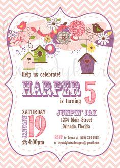 Bird House Birthday Invitation - Bird Birthday Invitation - Girl Invitation - Baby Shower Invitation - Pink and Purple Invitation