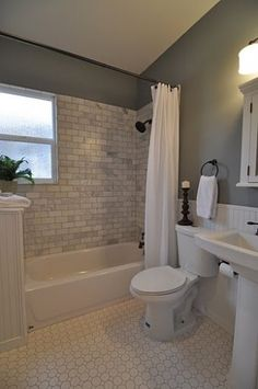 Basement bath tile idea? What about a bright color on walls instead? Especially if we get some natural light there.