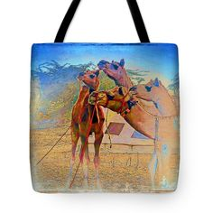 """Camels Hanging Out India Rajasthan Desert 6a Tote Bag 18"""" x 18"""""""