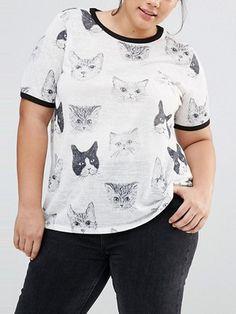 Gray Crew Neck Cat Print T-shirt | Irisie