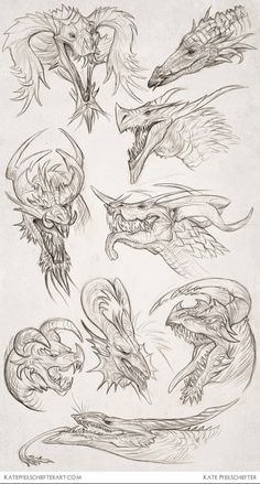 Daily Dragons by KatePfeilschiefter on deviantART Inspiring Artist Sketchbooks - Resources for Art Students CAPI- Create Art Portfolio Ideas Creature Drawings, Animal Drawings, Cool Drawings, Drawing Animals, Pencil Drawings, Dragon Anatomy, Dragon Artwork, Dragon Head Drawing, Dragon Drawings