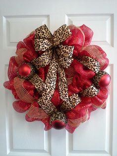 Leopard Christmas wreath
