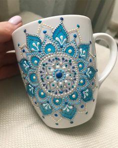 Mandala Art Mug/ Coffee Mug/ Unique Coffee Mug/ Ceramic Mugs/ Cute Mugs/ Tea Mugs/ Coffee Lover Gifts/ Art Print Mug/Snow mug - - Wonderful mug with gentle blue mandala on it. Don't wash in dishwasher machine. Painted Coffee Mugs, Hand Painted Mugs, Unique Coffee Mugs, Coffee Art, Mandala Art, Ceramic Cafe, Ceramic Mugs, Ceramic Bowls, Dot Art Painting