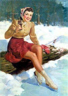 Coca Cola Ad - Illustration by Haddon Hubbard Sundblom Coca Cola Vintage, Coca Cola Poster, Coca Cola Ad, Coke Ad, Pepsi, Pin Up Kunst, Pub Coca, Illustration Noel, Poster S
