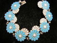 """Margot de Taxco Sterling Silver 7"""" Flower Enamel Bracelet"""