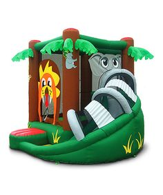 It's a jungle out there! Little adventurers enter this safari-themed bounce house through the lion's mouth and slide down the elephant's trunk. Ideal for hours of fun, it's also easy to set up and store. Includes house, slide and air pumpWeight capacity: 300 lbs12' W x 10' H x 11' D