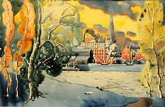 Montréal vue de lîle Ste-Hélène - Marc-Aurèle Fortin (1922)