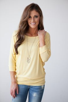 Magnolia Boutique Indianapolis - 3/4 Sleeve Convertible Dolman Tunic - Soft Yellow, $26.00 (http://www.indiefashionboutique.com/3-4-sleeve-convertible-dolman-tunic-soft-yellow/)