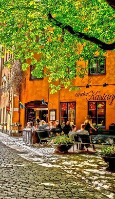 Romantic Stockholm, Old town, in May, Spring Sitting under the Chestnut tree..Photo by Marita Toftgard