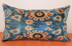 Ikat Pillow - Soft Velvet Handwoven - Decorative Pillow - Throw Pillow Cover - Handmade Silk Velvet Ikat Pillow Cover Red Cream Gray Blue