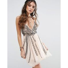 Free People Cassiopeia Party Mini Dress ($210) ❤ liked on Polyvore featuring dresses, pink, mini party dresses, pink mini dress, short chiffon dress, v neck dress and short party dresses