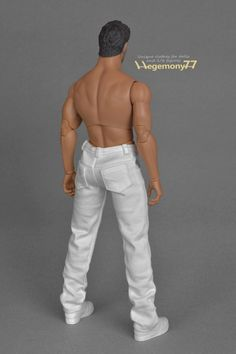 1:6th scale XXL white jeans pants / trousers  Size: Hot Toys Truetype TTM 20 and similar XXL collectible action figures and male dolls