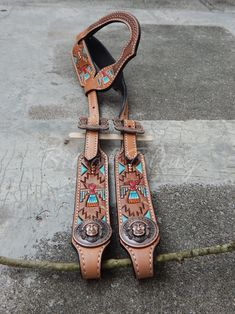 Thunderbird Painted & Tooled Leather One Ear Headstall Horse Tack Rodeo Gymkhana Reining Trail Riding Barrel Racing Pole Bending Custom Leather, Cow Leather, Leather Craft, Tooled Leather, Horse Girl, My Horse, Horse Tack, Wither Strap, Headstalls For Horses