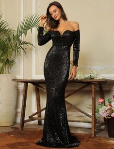 aeedd0412ad2 Black Sequined Mermaid Formal Evening off-the-shoulder Maxi Long Sleeve  Dress Long Sparkly