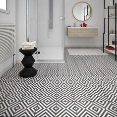 LEROY MERLIN Carrelage sol et mur noir blanc effet ciment Dément l.20 x L.20 cm