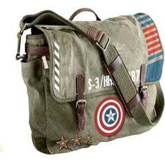 Marvel: Captain America: Vintage Army Satchel Messenger Bag £44.99 - visit to grab an unforgettable cool 3D Super Hero T-Shirt!