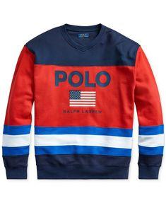 Ralph Lauren Polo Mens Logo Graphic American Flag Fleece Long Sleeve Pullover Sweater