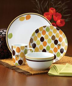 Take a look at this Little Hoot Dinnerware 16-Piece Set by Rachael Ray on #zulily today!
